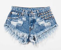 Make A Studded Statement In These Denim Shorts!  https://bellevalourecouture.com/collections/short-sets/products/m-m-studded-shorts?variant=26318552455