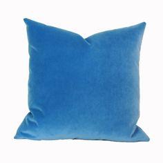 French blue velvet pillow cover 18x18 20x20 22x22 by JoyWorkshoppe