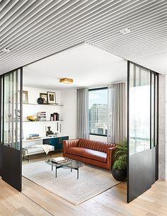 Office Interior Design, Office Interiors, Saint Gobain Glass, Glass Office Doors, Minimalistic Design, Light Hardwood Floors, Flex Room, Living Spaces, Living Room