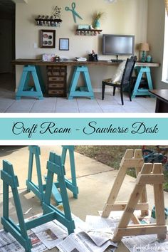 Organize your craft room with a multi-purpose sawhorse desk