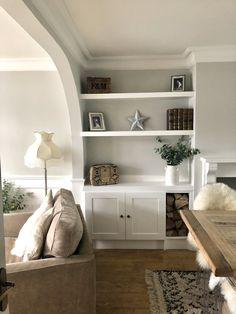 Alcove Storage Living Room, Living Room Built In Cabinets, Dining Room Dresser, Living Room Shelves, Living Room With Fireplace, Living Room Planner, Living Room Decor Tips, Home Living Room, Living Room Designs