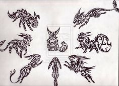 Tribal favourites by AnaKoch on DeviantArt Tribal Pokemon, Matching Tattoos, Tatting, Nerd, Deviantart, Drawings, Image, Stamp, Tribal Drawings