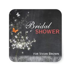 """Sassy Butterfly + Dandelion Bridal Shower Stickers (1.5""""x1.5""""). #chalkboard #bridal_shower #invitation #dandelions #butterfly #black_and_white #unique"""