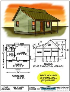 sales drawing C0384B #shedplans Small Cabin Plans, Cabin Floor Plans, House Plan With Loft, Small House Plans, Tiny House Cabin, Tiny House Living, Woodworking Guide, Woodworking Projects Plans, Ideas De Cabina