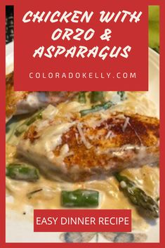 Chicken with Orzo Asparagus Easy Dinner Recipe Asparagus Recipe, Baked Chicken Breast, Boneless Chicken Breast, Lenox Dishes, Pasta Dinner Recipes, Recipe Images, Different Recipes, Food Hacks