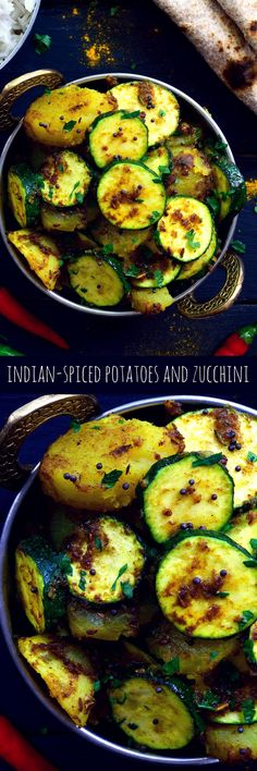 Just two main ingredients but loads of flavour, these Indian-spiced potatoes and zucchini make a great side dish or are delicious served with rice and naan or chapati bread. Vegan Side Dishes, Veggie Dishes, Side Dish Recipes, Vegetable Recipes, Food Dishes, Vegan Indian Recipes, Vegetarian Recipes, Healthy Recipes, Free Recipes