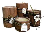 NJ local. soy candles in containers from bamboo poles. Just saw them in Whole Foods -- gorgeous.