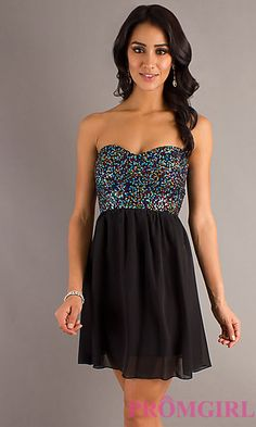 Short Strapless Dress with Sequin Bodice at PromGirl.com
