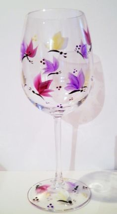 Beautiful Butterfly Hand Painted Wine Glass by CustomGlassArt, $10.00