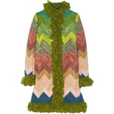 Missoni Zigzag bouclé-trimmed wool coat ($4,830) ❤ liked on Polyvore featuring outerwear, coats, green, green wool coat, wool coat, colorful coat, green coat and missoni coat
