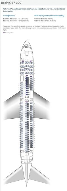AIR NEW ZEALAND AIRLINES BOEING 767-300 AIRCRAFT SEATING CHART