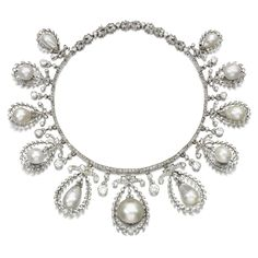 Natural pearl and diamond necklace, early 20th century and later. Of garland design, composed of a line of rose diamonds, supporting a fringe of drop, button and baroque shaped natural pearls, within frames of foliate motifs set with circular-, single-cut and rose diamonds, alternating with pendants set with similarly cut diamonds.