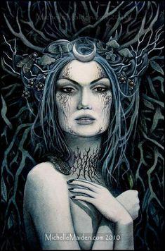 Of the Cold Earth dark fairy PRINT pagan art blue faerie Goddess Tattoo, Goddess Art, Moon Goddess, Persephone, Wicca, Winter Goddess, Pagan Art, Nature Spirits, Artwork Display