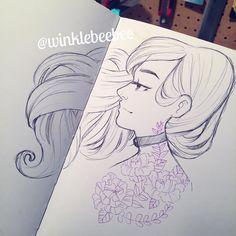"1,390 Likes, 6 Comments - Daily Drawings by Kirsten W. (@winklebeebee) on Instagram: ""February 26th #dailydrawing [Purple]. #artstagram #illustrationdaily #sketchbookdaily…"""