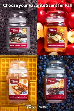 Save money and get your home ready for guests this season with Better Homes and Gardens autumn-scented jar candles! Welcome visitors with the aromas of Simmering Apple Cider, Crisp Fall Leaves, Black and Blue Cobbler, Golden Maple Waffles, Harvest Berry Spice and more – at Walmart everyday low prices you can afford to try them all and discover your favorite!