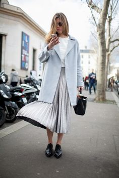 grey, silver, pale blue, pleaded skirt, maxi skirt, flat pointed loafers...