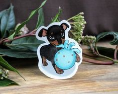 Black and Brown Chihuahua Daschund Puppy with Toy Die Cut Sticker Brown Chihuahua, Daschund, Handmade Items, Handmade Gifts, Black And Brown, Etsy Seller, Toy, Puppies, Stickers