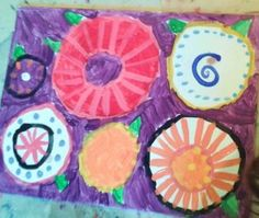 Kids Art Classes near Collegeville PA.  A fun project from Art Jumble using concentric circles and pattern to create awesome abstract flowers.