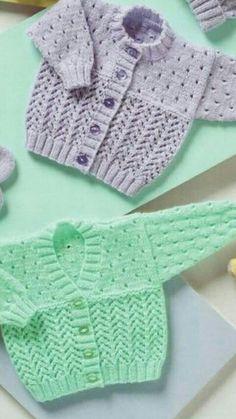 Crochet Baby Sweaters, Baby Cardigan Knitting Pattern, Knitting Stiches, Crochet Baby Clothes, Baby Knitting Patterns, Knitting For Kids, Free Knitting, Crochet Bebe, Knit Crochet