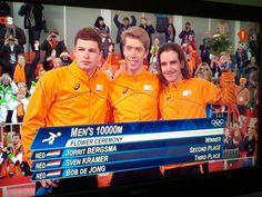 Jorrit Bergsma goud, Sven Kramer silver en Bob de Jong brons. Wat was dat spannend!