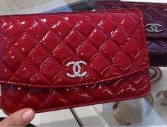 2d459cdd93b6e5 Chanel Red Quilted Patent Brilliant CC Wallet On Chain (WOC) | Bags ...