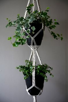 This long, sturdy macrame plant hanger is handmade with natural white cotton rope, featuring three thickly knotted strands, hung by a small brass
