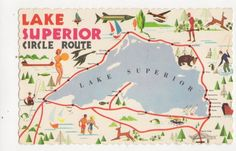 Lake Superior Old Map Postcard Canada 420a