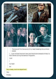 Costumes Harry Potter Harry and Neville are dressed similarly to their fathers during the Battle of Hogwarts.my heart! Harry Potter Love, Harry Potter Universal, Harry Potter Fandom, Harry Potter Memes, James Potter, Potter Facts, Harry Potter Books, Hogwarts, Drarry