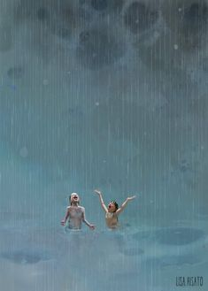 Sommerregn av Lisa Aisato Summer Rain by Lisa Aisato Rain Illustration, Rain Art, Summer Rain, Dancing In The Rain, Rain Dance, Cute Wallpaper Backgrounds, To Infinity And Beyond, Travel Posters, Cute Drawings