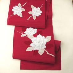 Dark red nagoya obi. casual /【名古屋帯】リサイクル着物/紅赤色地 バラのお太鼓柄 絽 八寸