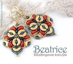 Beatrice – beadingowe kolczyki z Arcos par Puca, Minos par Puca, ZoliDuo i SuperDuo. Amethyst Earrings, Seed Bead Earrings, Beaded Earrings, Beaded Bracelets, Handmade Beaded Jewelry, Beaded Jewelry Patterns, Beading Patterns, Beaded Jewellery, O Beads