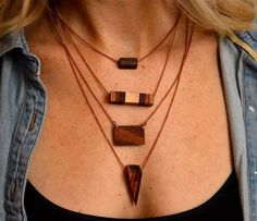 Layered Wood Necklace Wood Necklace Set Wooden by TimberAndChain