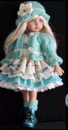 Handmade sweater and dress set made for Effner Little Darling dolls
