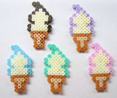 Kawaii Cute Hama/Pearler Ice Cream Cones  Pack of 10 by Pelemele, £5.00