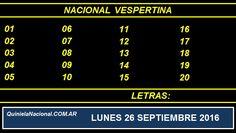 Video Quiniela Nacional Vespertina Lunes 26 de Septiembre de 2016 Pizarra del sorteo desarrollado en el recinto de Loteria Nacional a las 11:30