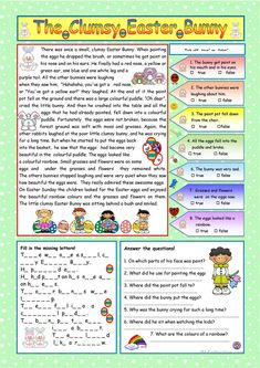 The Clumsy Easter Bunny (KEY included) worksheet - Free ESL printable worksheets made by teachers