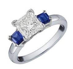 1.25 Cttw G VS Princess Cut Diamond and Blue Sapphire 3 Stone Engagement Ring in…
