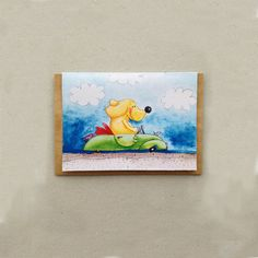dog driving car  childrens gift card  by katiejardineART on Etsy