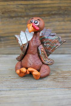 Turkey Polymer Clay Sculpture by MirandasCritters on Etsy