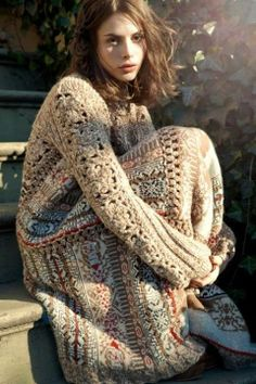 No pattern, just inspiration.  Love the idea of the crochet and the fabric together in one garment.  Have been using this idea for decades using handwoven fabrics.