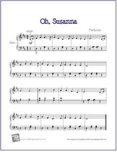 Oh, Susanna | Free Sheet Music for Easy Piano - http://makingmusicfun.net/htm/f_printit_free_printable_sheet_music/oh_susanna_piano.htm