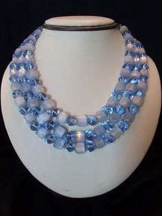 Crown Trifari Baby Blue Satin & Glass Bead Triple Strand Gold Plate Necklace Bridal Wedding