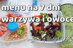 Menu tygodniowe warzywno-owocowe – wychodzenie z diety tydzień 1 Feel Good, Recipies, Wellness, Beef, Chicken, Ethnic Recipes, Food, Recipes, Meal