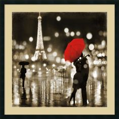 Kate Carrigan 'A Paris Kiss' Framed Art Print 34 x 34-inch - Free Shipping Today - Overstock.com - 16373996 - Mobile