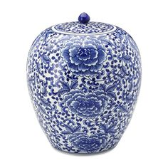 Rose Motif Ginger Jar with Lid - Blue and White Home Decor