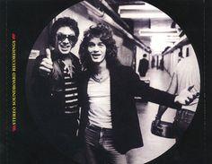 Fish eye lens view of Alex & Eddie Van Halen backstage 1985