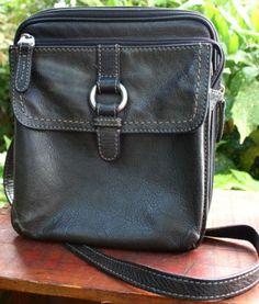 FOSSIL-Charcoal-Black-Leather-Crossbody-Handbag-Purse