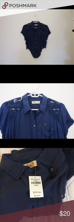 Hollister Button Down -ties at bottom -short sleeved -Lace -NWT -size Medium Hollister Tops Button Down Shirts