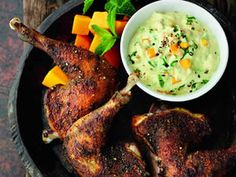 Try this exciting grilled spiced pheasant recipe, with mango and mint, as a stylish twist on an old favourite Wild Game Recipes, Meat Recipes, Cooking Recipes, Healthy Recipes, Quail Recipes, Rabbit Recipes, Meat Meals, Drink Recipes, Healthy Food