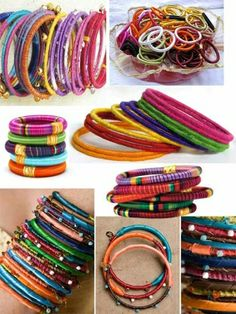 Thread wrapped bracelets by S Michelle Wilson Thread Bangles, Thread Jewellery, Fabric Jewelry, Beaded Jewelry, Jewelry Bracelets, Handmade Jewelry, Wrap Bracelets, Jewlery, String Bracelets